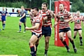 WE DID IT!: David Hewitt scored a crucial try (inset, bottom) and celebrated in style (main, left), while George Tyson caught up with his man during Oldham�s terrific comeback victory over Barrow. PICTURES by TIM BRADLEY