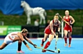 GO FOR IT . . . Nicola White (right) battles for posssession with Netherland's Maartje Paumen during yesterday�s final.