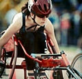 OUT to impress . . . Oldham wheelchair racer Catherine Stott (15) focused on the games