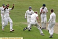 CELEBRATION . . . for Royton�s players following the wicket of Norden skipper Simon North.