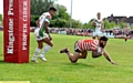 SAFELY OVER . . . Sammy Gee scores Oldham�s opening try.