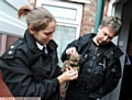 RSPCA Inspector Gilly Howard and Sergeant Jon Martin help one of the frail animals