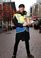 Clint Boon selling The Big Issue.