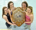 ALL SMILES: The Saddleworth School team were victorious in the Brown Shield relay. Pictured are team members Gemma Croft (left), Charlotte Bacon, Kate Leddy, Ruby Jones.