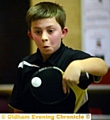 Table tennis league game in Shaw: Unison 'E' player Alex Darlington (12) in the match against Hollinwood 'E'.