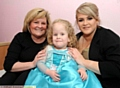 Millie Moran with gran Vicky Shaw and mum Heather Clarke