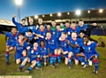 Loud and proud.. Athletic's under-18s celebrate Lancashire FA Youth Cup success last night