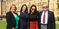 DELEGATION . . . from left Councillor Nicola Kirkham, Holly Wood, MP Debbie Abrahams and parish councillor Robert Knotts outside the House of Commons