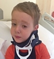 NECK injury . . . Jake de la Haye