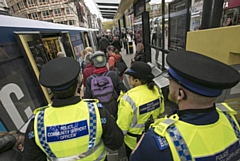 During the day of action, there was enhanced policing in place