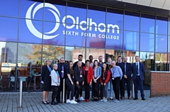 The Government�s Apprenticeships and Skills Minister Anne Milton (wearing a red jacket) with staff and students at the Oldham Sixth Form College