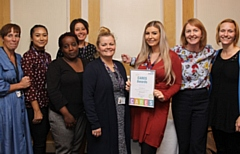 Pictured are (left to right): Lisa Williams, Zoe Bradshaw, Nozizwe Chirembo, Lisa Lewer, Vicky Brown, Kimberly Evans, Julie Spencer and Toni Stokes