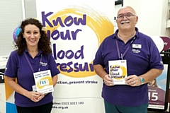 Stroke Association ambassadors Rebecca Murray and Geoffrey Heathcote at Vision Express Failsworth