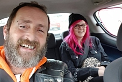 Charlotte Salway (rear) pictured with her father, Steven Salway, who was injured during the collision.