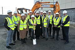 Sir Norman Stoller CBE, KStJ DL pictured at the start of The Space construction work