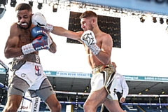 Danny Wright (right) in action against Mikey Sakyi at Leeds United's Elland Road stadium in May this year.