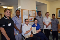 Pictured are ((left to right): Linda Adams, Lead nurse diabetes, Judith Muir, Diabetes specialist nurse, Mike Markham, Diabetes Link Nurse Ward F7, Chelsea Tindall, link nurse ward F10, Margaret Idaewor,  Diabetes Specialist Nurse, Paula Yates, Clinical Lead � Podiatry and Ascia Bibi, Diabetes Specialist Nurse