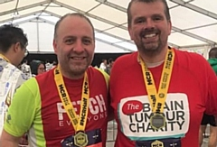 Andy (right) with Dr Nadhim Bayatti at the end of the Manchester Half Marathon