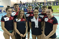 The Oldham Aquatics team pictured  at the Swim England North West Winter Championships. They are (left to right): Kimberley Burston, Sam Goldrick, Amy Harrison, Kian Tevlin, Jessica Calderbank, Luke Kearslake and Ellie Lomax