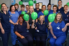 Pictured (left to right) are the Critical Care Team at The Royal Oldham Hospital celebrating their new Green NAAS accreditation. Front row � Maria Daynes, Helen Barrow, Yvonne Cole; Middle row � Wendy Clapham, Gill Armstrong, Alyson Hopkinson, Rachelle Olawle-Karim, Rachel Lawton, Lynne Blackshaw; Back row � Rachel Diskin, Bernie Hunt, Gill Fairhurst, Sam Akram, Danielle Pickersgill