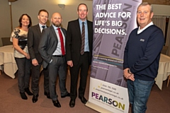 Pictured at the announcement are (from left): Pearson business development manager Suzanne Wright, Pearson head of corporate and commercial department Keith Kennedy, Pearson head of financial services and wealth management Richard Eastwood, and Pearson head of commercial litigation Christopher Burke with awards chairman Steve Kilroy