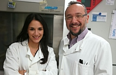 Dr Marilena Hadjidemetriou, study author from The University of Manchester, with Professor Kostas Kostarelos
