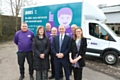 Pictured are (l-r): Councillor Barbara Brownridge, Cabinet Member for Neighbourhoods & Co-operative, Mick Hart, Bulky Bob�s Operations Manager, and Rosie Barker,  Support & Development Manager, Oldham Council Waste Management, in front of the Bulky Bob�s Oldham team.