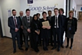 Dr�Mary Bousted with a group of North Chadderton school students
