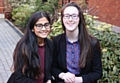 From left, Manchester High School for Girls students Shazia Absar and Eleanor Fidler