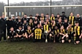 Hopwood Hall College's Football Academy team celebrate their cup win