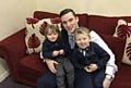 Andy Smith with his children Jacob (4) and Zachary (2)