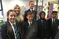 So proud (left to right): Oasis Academy Leesbrook Pricipal Sarah Livesey and Peter Roberts (Chair) with the Head Girl, Katie May (left), Head Boy Szymon Barszcz,  (second from left) and the Deputy Head Girl and Boy.