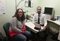 Sarah Hope with her optometrist Mohammed Rizwan