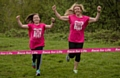 Eva and mum Jill recreate the �finish line feeling� experienced at Race for Life