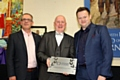 Pictured from left to right are Simon Smith, Diocese of Salford Director of Education,  Damian Harrison, Headteacher and Shaun Murphy, former world champion snooker player