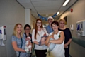 SMILERS: Pictured (left-right): Amy Carlon with baby Freya, Mel Wildman Ward Manager, Jennie Andrews with baby Teddie, Simon Mehigan, Head of Midwifery, Nicola Firth, Director of Nursing/Chief Officer, Fay Read with baby Theo