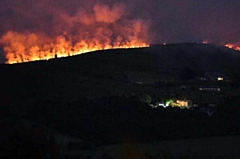 The Saddleworth Moor fires rage soon after taking hold three weeks ago