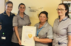 Pictured at the Quality Mark accreditation are (left to right): Lindsey Dawson � Macmillan Lead Chemotherapy Nurse, Hannah Whittaker, Rachael Tomkins and Jane Lees (all Macmillan Chemotherapy Nurses)