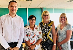 Pictured are (left to right): Carl Lofthouse, Senior Finance Business Partner; Julie Daines, Strategic Director of Corporate Affairs & Resources; Julie Burton, Assistant Finance Manager; Julia Taylor, Commissioning Manager for Surgical Specialities and Continuing Healthcare.