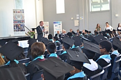 Hathershaw College Prinicipal Dave McEntee speaks to the Year Seven graduates.