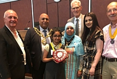 Pictured with the winner�s trophy, Umme-Kalsum, is flanked by the Mayor Cllr Javid Iqbal, the Mayoress Tasleem Akhtar, and the Youth Mayor Amber Powell. Also pictured (left to right): are Rotarians Frank Bolger, Immediate Past President Mel Farrar (MC) and Jack Wild, the President-Elect.