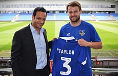 Athletic's summer signing Andy Taylor with club owner Abdallah Lemsagam