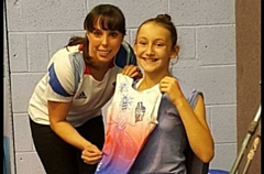 Acacia Seward with Olympic star Beth Tweddle