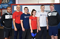 Pictured (left to right) are: Fitness Academy Tutor Miles Greenwood, Gary Rothwell, Matthew Royster, Shannon WIlson, Callum Angus and Mike Bruns