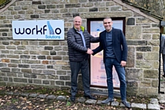 Raring to go in Saddleworth: Alan O�Connor, Regional Territory Sales Manager (left) and Michael Field, managing director (right), outside the new Workflo Solutions premises