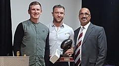 Ritchie Hawkard (centre) won two awards, voted top gun by his fellow players and by the coach. He's flanked by club captain Gareth Owen and Joe Warburton of the Past Players, who sponsored the players' award