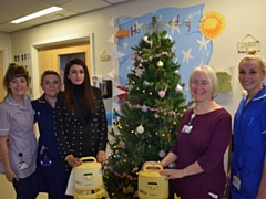 Babra Shaheen with Lydia Bowden, Consultant Neonatologist, Alison O�Doherty, Assistant Director of Nursing, Rosie Armstrong, Infant Feeding Support Worker and Holly Mitchell, Staff Nurse.