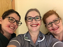 Amanda (left) with her gynacology Macmillan nurse specialist colleagues Tracey Dixon and Julie Dale - all with smeared lipstick