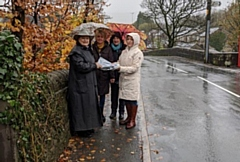 Pictured are Cllr Pam Byrne (left) with Rachel Bird, Penny Sankey and Jayne Gibson, all Dobcross Road Safety Group volunteers