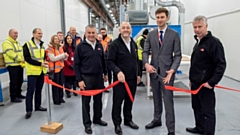 Oldham Council Leader Cllr Sean Fielding, centre, visiting HPP in early 2019 when he opened a new vinyl-wrapped door production line. He is pictured with, from left, Richard Mottram, Keith Wardrope and Stephen Hill, all from HPP.